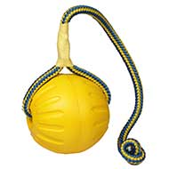 Palla da gioco con corda, 9 cm di diametro